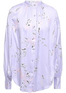 Equipment Woman Causette Floral-print Washed Silk-blend Satin Blouse Lavender