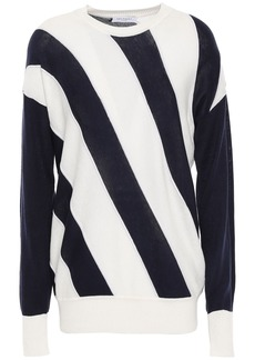 Equipment Woman Cetine Striped Silk And Cotton-blend Sweater White