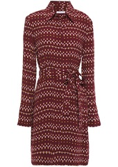 Equipment Woman Chansette Belted Printed Crepe De Chine Mini Shirt Dress Burgundy