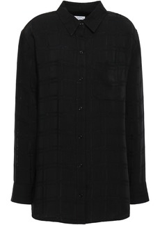 Equipment Woman Checked Crepe Shirt Black