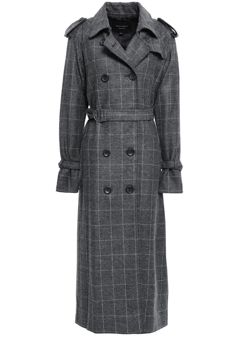Equipment Woman Checked Wool-blend Twill Trench Coat Dark Gray