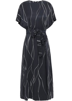 Equipment Woman Chemelle Bow-detailed Printed Washed Silk-blend Midi Dress Midnight Blue