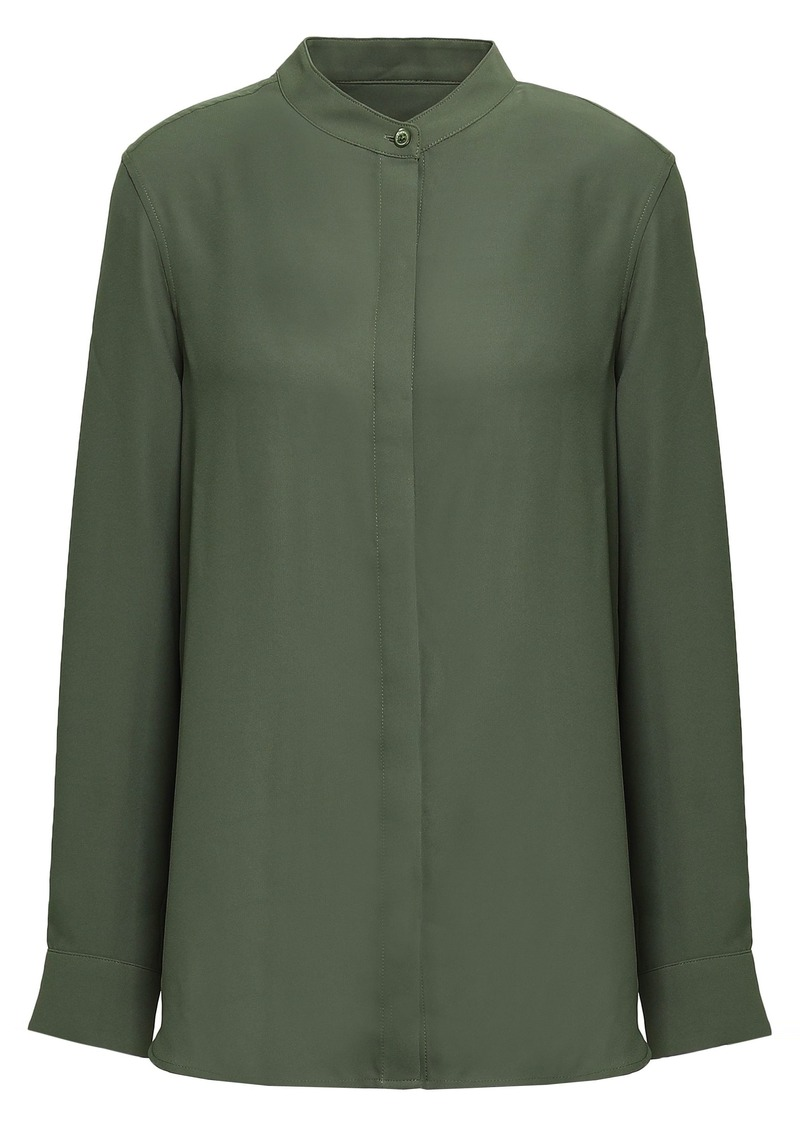 Equipment Woman Cherine Washed-crepe Shirt Army Green