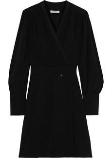 Equipment Woman Claira Wrap-effect Crystal-embellished Jersey Mini Dress Black