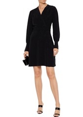Equipment Woman Claira Wrap-effect Crystal-embellished Jersey Mini Dress Black