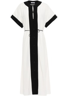 Equipment Woman Claudine Belted Two-tone Crepe Midi Dress White