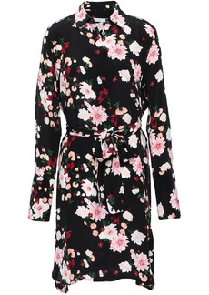 Equipment Woman Clea Floral-print Washed-silk Mini Shirt Dress Black