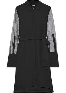 Equipment Woman Clea Point D'esprit-paneled Silk Mini Shirt Dress Black