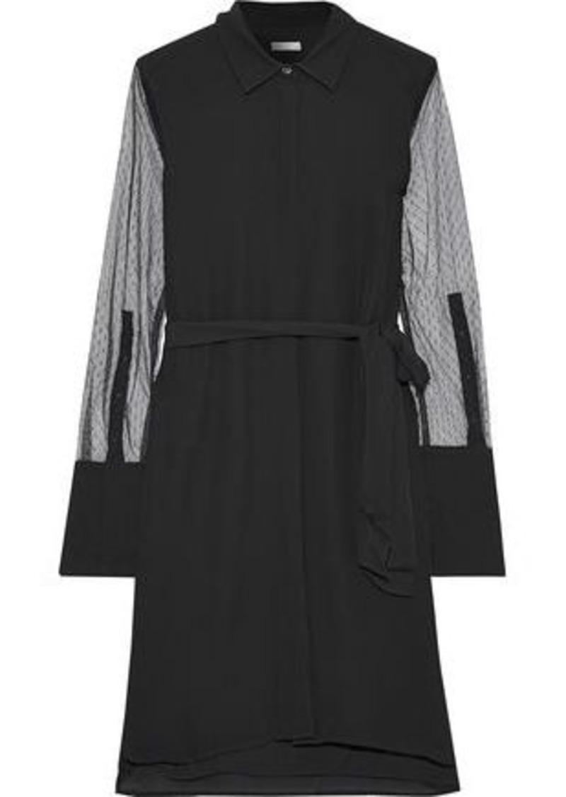 Equipment Woman Clea Point D'esprit-paneled Silk Mini Shirt Dress Black
