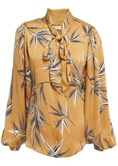 Equipment Woman Cleone Tie-neck Printed Washed-satin Blouse Mustard