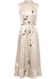Equipment Woman Clevete Belted Floral-print Silk-satin Midi Dress Neutral