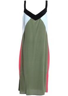 Equipment Woman Color-block Silk Crepe De Chine Dress Army Green