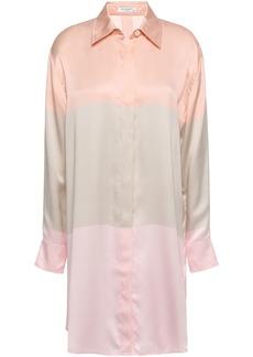 Equipment Woman Color-block Silk-satin Mini Shirt Dress Antique Rose