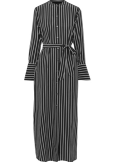 Equipment Woman Connell Belted Striped Silk Maxi Shirt Dress Black