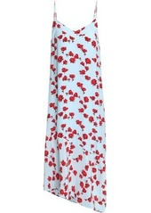 Equipment Woman Cool Breeze Floral-print Silk Crepe De Chine Midi Dress Sky Blue