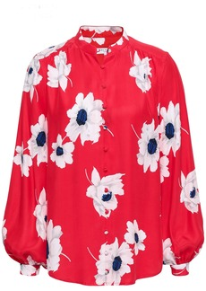 Equipment Woman Cornelia Floral-print Washed-silk Shirt Red