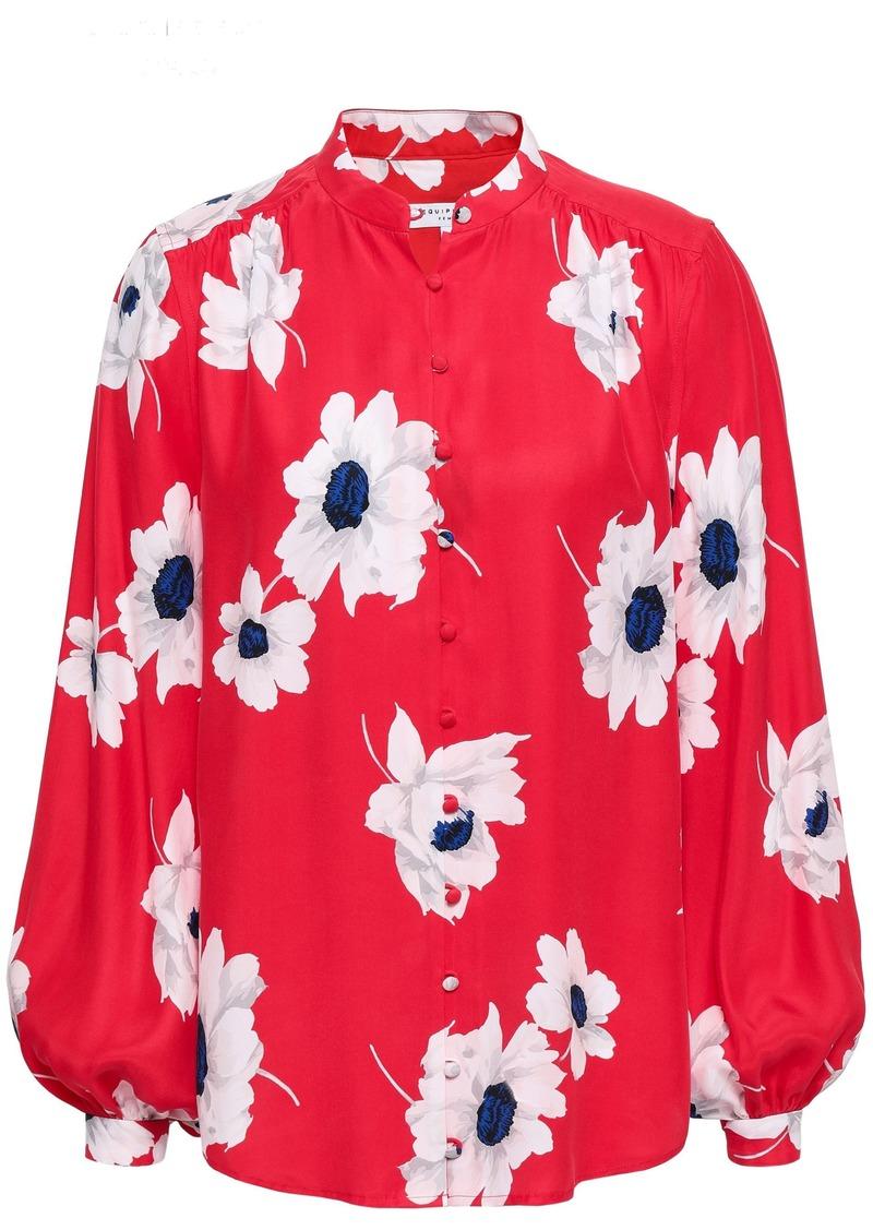 Equipment Woman Cornelia Floral-print Washed-silk Shirt Red