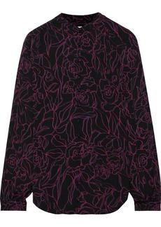 Equipment Woman Cornelia Printed Washed-crepe Shirt Black