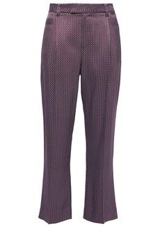 Equipment Woman Cropped Printed Satin-twill Straight-leg Pants Burgundy