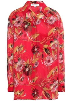 Equipment Woman Daddy Floral-print Silk-chiffon Shirt Tomato Red