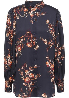 Equipment Woman Danton Gathered Floral-print Washed-satin Shirt Midnight Blue