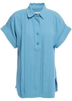 Equipment Woman Dariell Pleated Crepe Shirt Light Blue