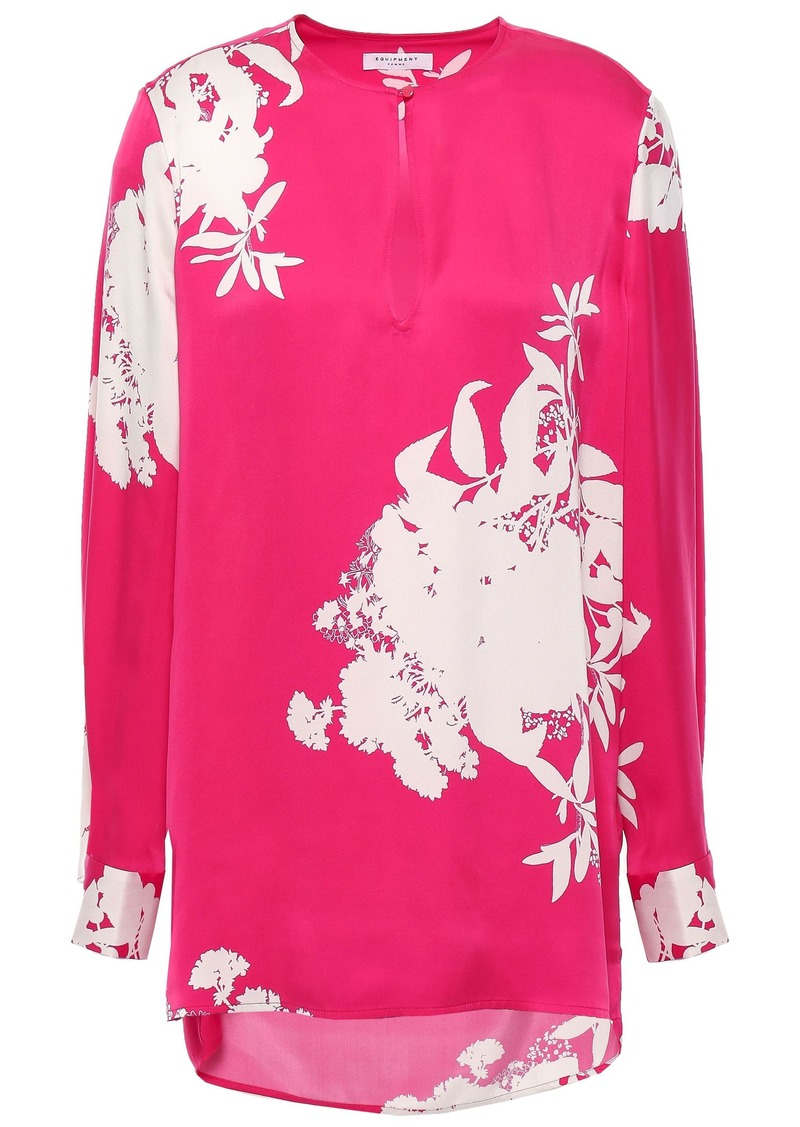 Equipment Woman Delainey Floral-print Washed Silk-blend Blouse Bright Pink