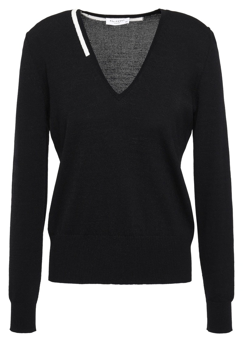 Equipment Woman Demia Stretch-knit Sweater Black