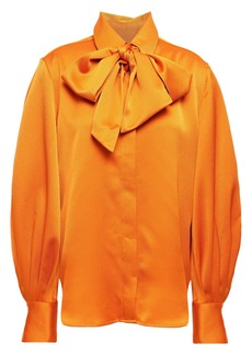 Equipment Woman Didina Pussy-bow Washed-satin Blouse Orange