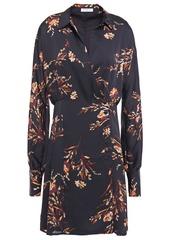 Equipment Woman Harmon Floral-print Satin Mini Wrap Dress Midnight Blue