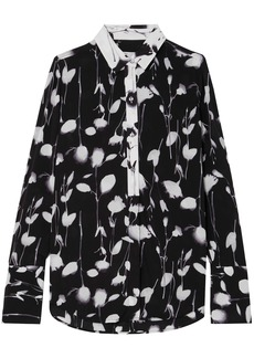 Equipment Woman Eleonore Floral-print Crepe De Chine Shirt Black