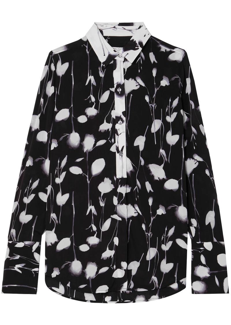 Equipment Woman Eleonore Floral-print Crepe De Chine Shirt Black