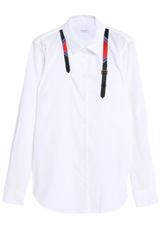 Equipment Woman Embroidered Cotton-poplin Shirt White