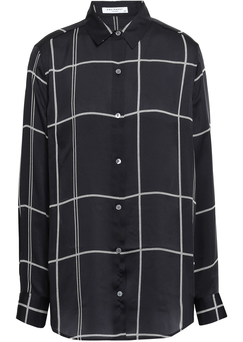 Equipment Woman Essential Checked Washed-crepe Shirt Black