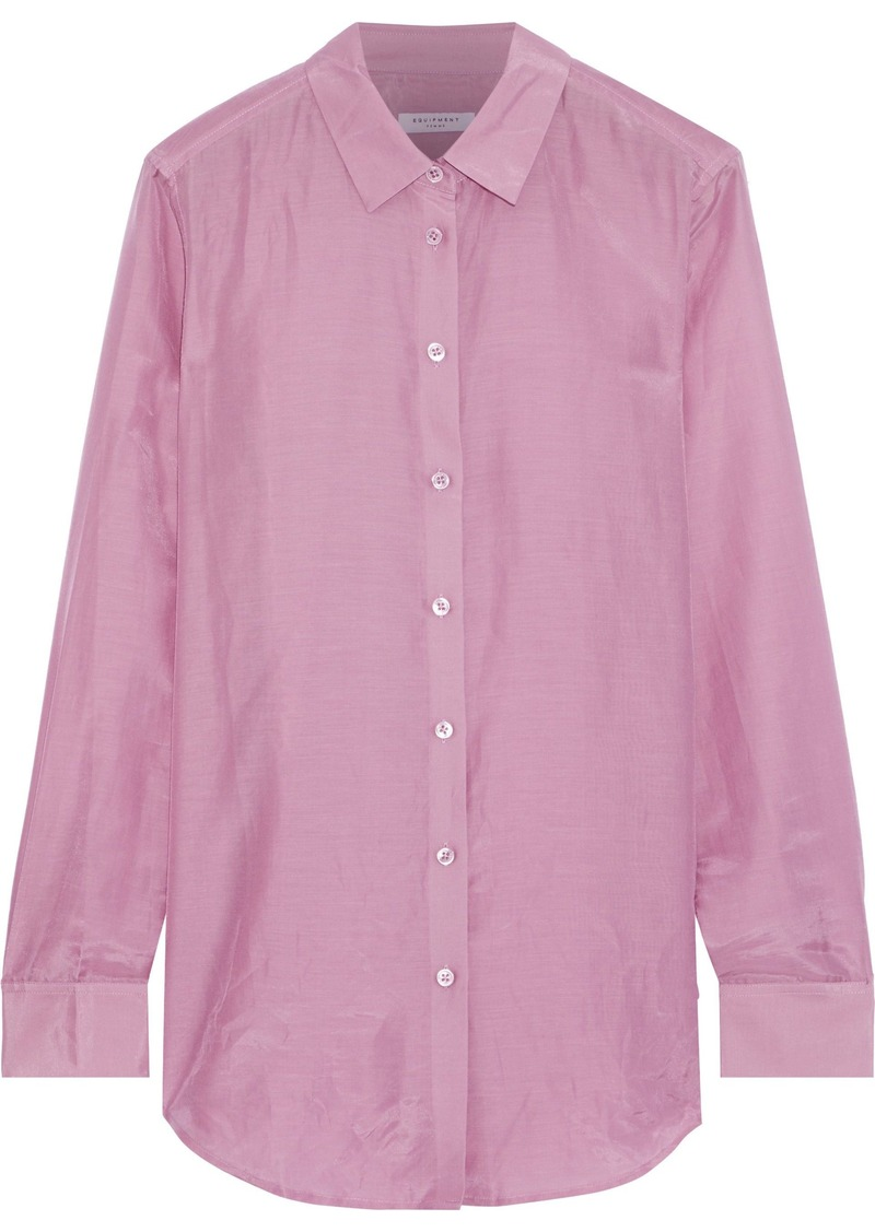 Equipment Woman Essential Cotton And Silk-blend Organza Shirt Lavender