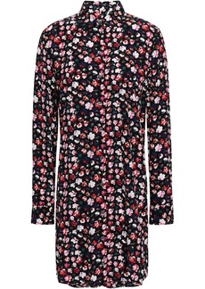 Equipment Woman Essential Floral-print Crepe De Chine Mini Shirt Dress Black