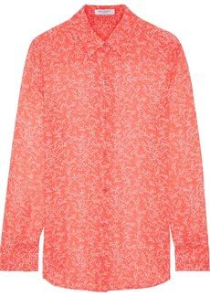 Equipment Woman Essential Floral-print Silk-chiffon Shirt Coral