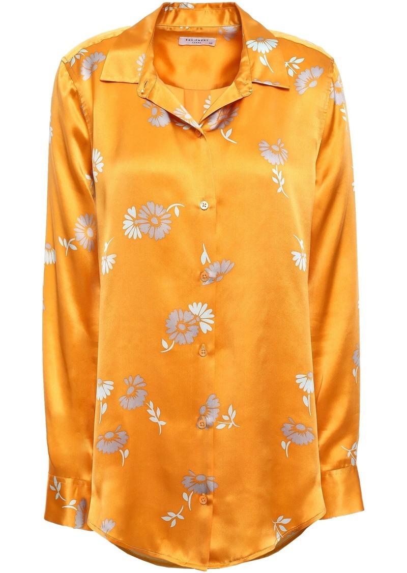 Equipment Woman Essential Floral-print Silk-satin Shirt Saffron