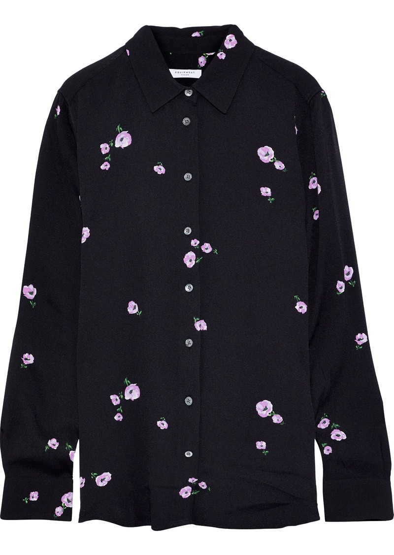 Equipment Woman Essential Floral-print Washed-crepe Shirt Black
