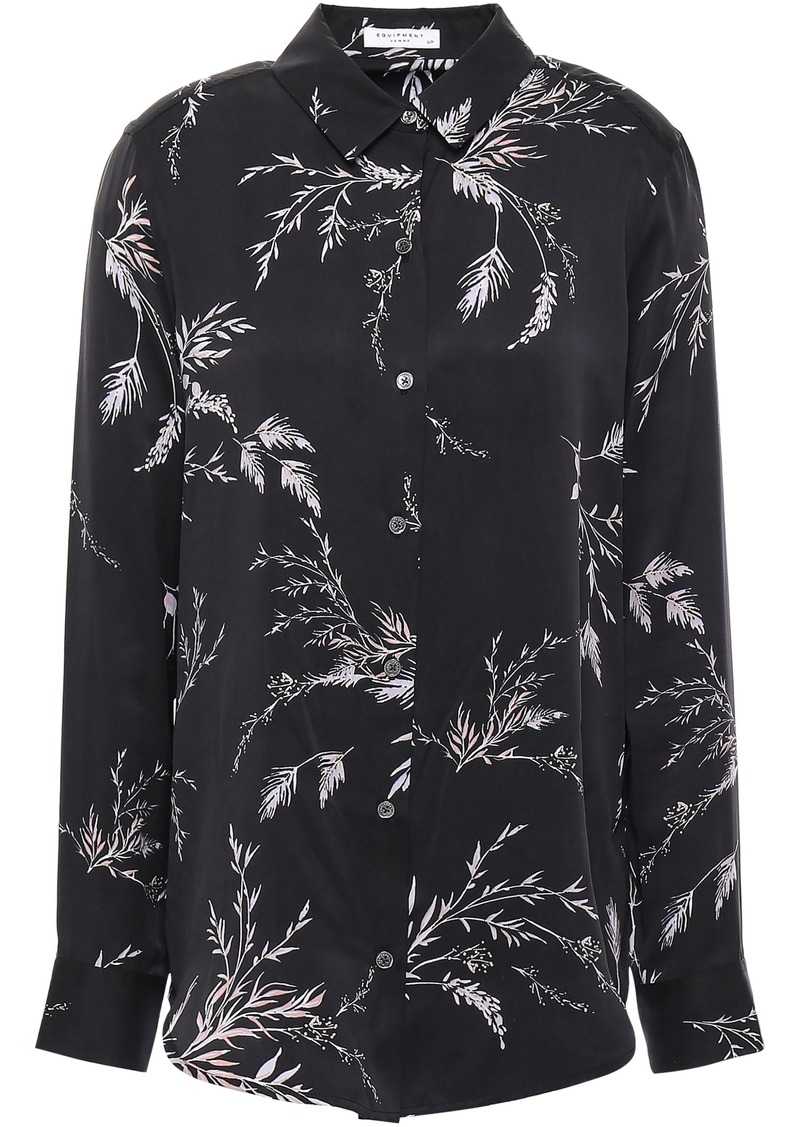 Equipment Woman Essential Floral-print Washed Silk-blend Shirt Charcoal