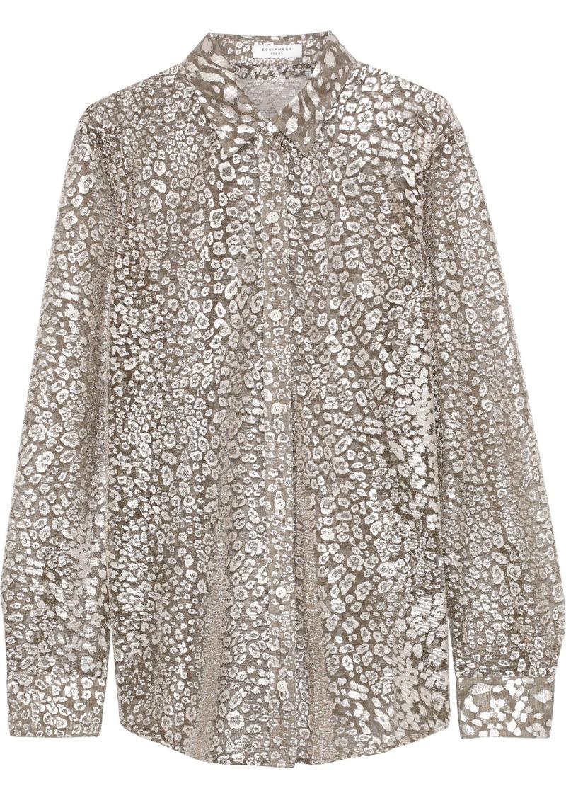 Equipment Woman Essential Leopard-print Lurex-blend Shirt Brass