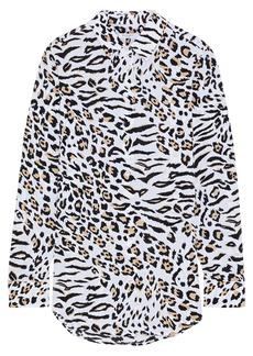 Equipment Woman Essential Leopard-print Washed-silk Shirt Animal Print