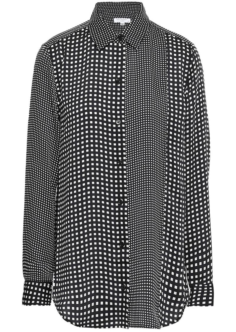 Equipment Woman Essential Paneled Checked Crepe De Chine Shirt Black