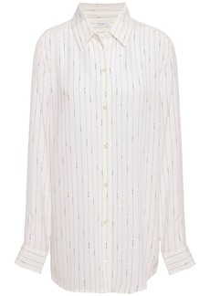 Equipment Woman Essential Pinstriped Washed-silk Shirt Off-white
