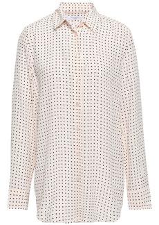 Equipment Woman Essential Polka-dot Washed-silk Shirt Pastel Pink