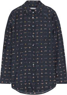 Equipment Woman Essential Printed Cotton And Silk-blend Shirt Midnight Blue