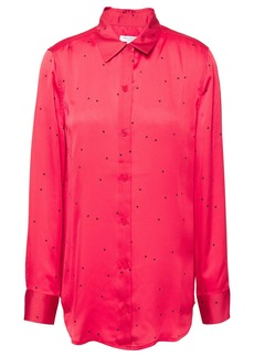 Equipment Woman Essential Printed Washed-satin Shirt Red