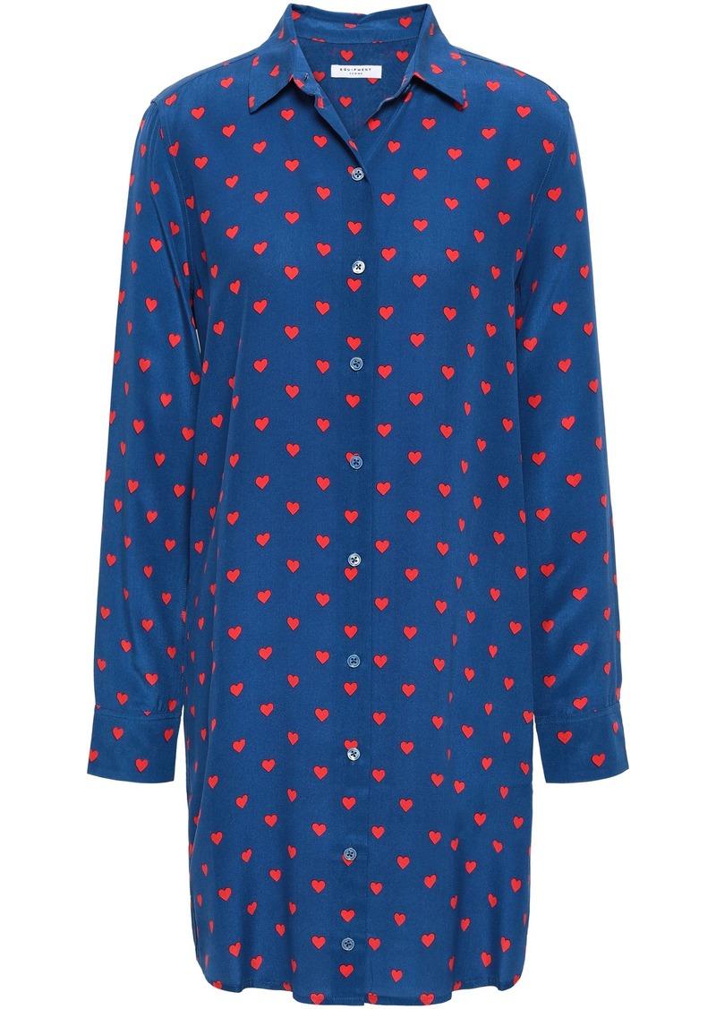 Equipment Woman Essential Printed Washed-silk Mini Shirt Dress Indigo