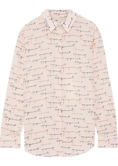 Equipment Woman Essential Printed Washed-silk Shirt Pastel Pink