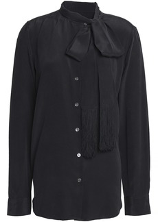 Equipment Woman Essential Pussy-bow Washed-silk Blouse Black